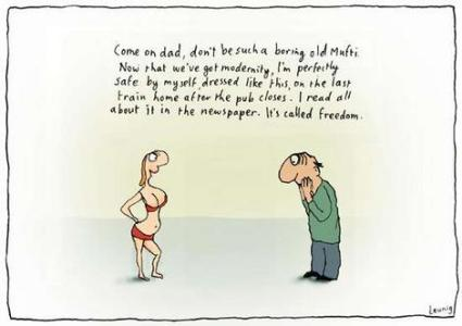 'Progress', 'modern' 'development' seem to be having such narrow meanings. | cartoonist: Michael Leunig. Click for image.