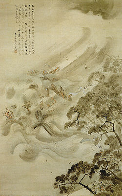 The Mongol fleet destroyed in a typhoon, ink and water on paper, by Kikuchi Y'sai, 1847