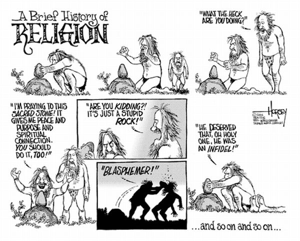David Horsey's cartoon inverts the religious equation!