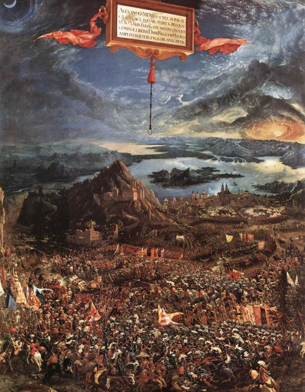 Alexander's armies would not have used Latin alphabets! (The Battle Of Ipsus /Alexander; a 1529 painting by Albrecht Altdorfer, German painter, now at the Alte Pinakothek).