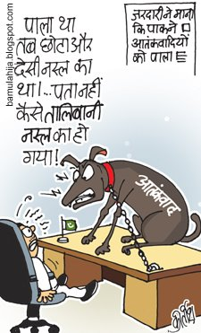 The Master's Problem: The 'obedient' dog starts barking at the master. (Cartoon by Kirtish Bhatt; courtesy - bamulahija.wordpress.com). Click for larger image.