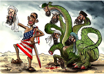 US triumphalism is misplaced. But then Osama's death will surely get Obama many votes. (Cartoon courtesy - http://jeffreyhill.typepad.com). Click for larger image.