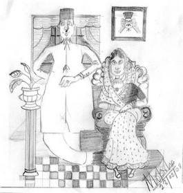 SKETCH OF PARSI COUPLE BY MOKSHA; Posted on SATURDAY, MARCH 22, 2008. Click for larger image.