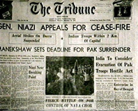The Tribune announcing Niazi's appeal for surrender. Niazi's surrender with 1,00,000 soldiers, was the largest surrender received by any general in 20th century. (Picture courtesy - bangladesh-tour.blogspot.com). Click for larger image.