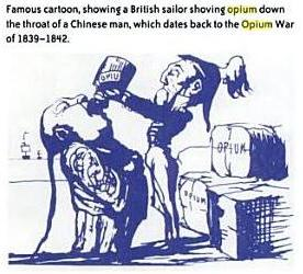 British Cartoon on Opium (Source - Drugs and society  By Glen R. Hanson, Peter J. Venturelli, Annette E. Fleckenstein; Page 253). Click to go to the source book.