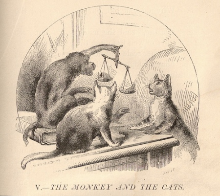 Two cats go to a monkey for justice and lose everything. Old Jataka tale. Can there be a 'honest' broker?