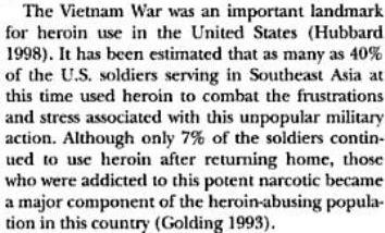 Vietnam War created heroin addicts. (Book extract from - Drugs and society  By Glen R. Hanson, Peter J. Venturelli, Annette E. Fleckenstein; page 256). Click to go to source.