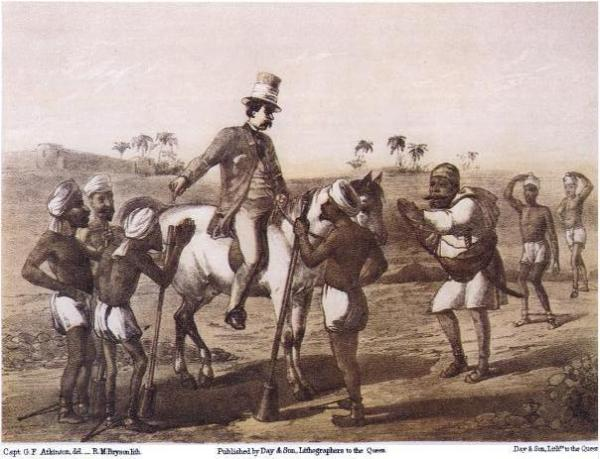 """A British magistrate 'surrounded' by 'supplicant' natives. How the British Empire 'brought' civilization to India? (Image from """"Curry & Rice"""" on Forty Plates: or the Ingredients of Social Life at """"Our Station""""; Published 1859; written by George Francklin Atkinson, a captain of the Bengal Engineers. Image source and courtesy - books.google.com). Click for source publication."""