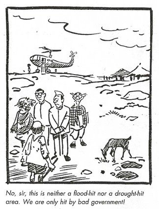 At least in the 60s and the 70s, India was long on promise and short on performance. To imply now that the British Raj was better? Cartoon by RK Laxman. Click for larger image.