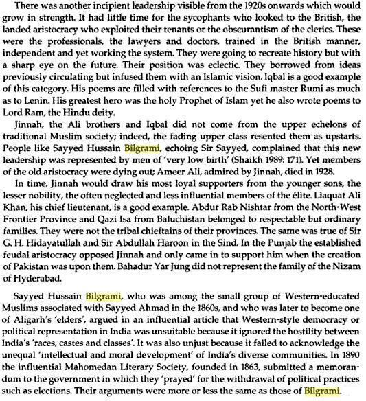 Chronicles of Collaboration. Excerpts from Jinnah, Pakistan and Islamic identity: the search for Saladin  By Akbar S. Ahmed, pages 56 and 64). Click to go source at books.google.com