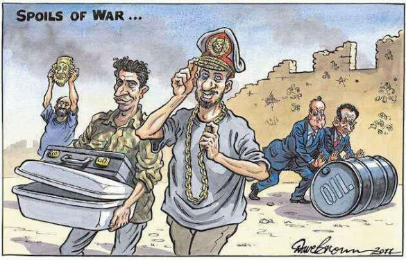 Iraq was for US; Libya is for Europe. Spoils of War (Cartoon by Dave Brown; publication date - 26 August 2011; source - independent.co.uk). Click for larger image.