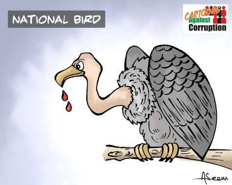 Indian State may soon start feeding on its people. It is surely moving in that direction. (Aseem Trivedi's cartoon is a warning.). Click for a larger image.