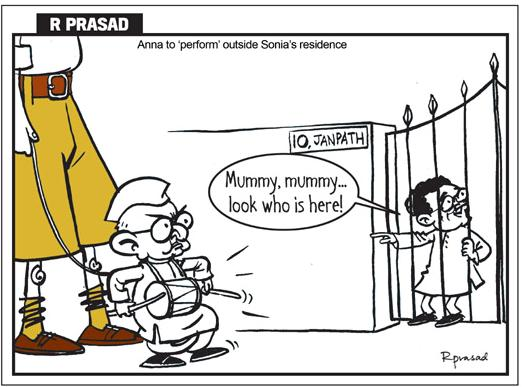 Anna and RSS  |  Cartoonist - R Prasad; source-nrisecularvoice.blogspot.com  |  Clik for larger image.