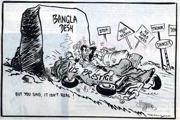 US and Pakistan foreign policy were smashed to bits during the Bangladesh War of 1971.  |  Cartoon by RK Laxman; source & courtesy: stateofpakistan.blogspot.in  |  Click for image.