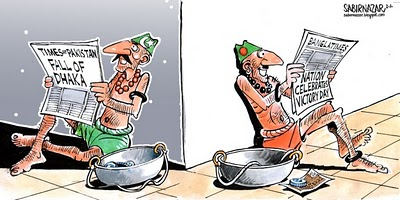 After thirty years, a determined government in Bangladesh is clear about its relationship with India. Will this last?  |  Cartoon by Sabir Nazar; image source & courtesy - bangladeshwatchdog.blogspot.in  |  Click for image.
