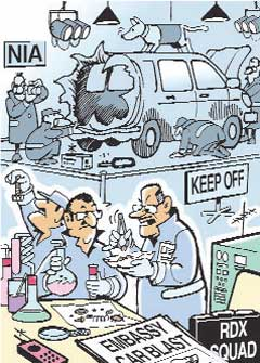 Israel will still blame Iran even if it's a CNG blast, Saying the gas is Iranian  |  Cartoon by Ajit Ninan; 15 Feb 2012; source & courtesy-mumbaimirror.com  |  Click for image.