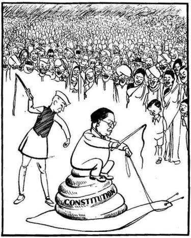 Even though some reports suggest that this was a 1950's cartoon, it was probably before January 26th 1950, when the Indian Constitution was adopted by the Indian Constituent Assembly. ToI suggests that this was a 1948 cartoon.  |  Copyright - Children's Book Trust; source and courtesy - outlookindia.com  |  Click for source image.