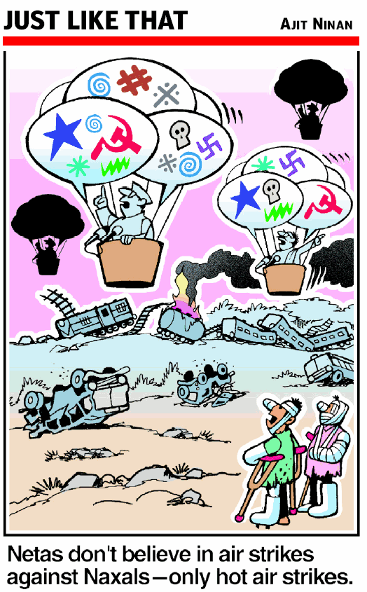 Hot air will not help any more  |  Cartoon by Ajit Ninan; source & courtesy - indiatimes.com  |  Click for image.