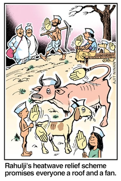 Sloganeering can't solve this problem!  |  Cartoon by Ajit Ninan; source & courtesy - indiatimes.com  |  Click for image.