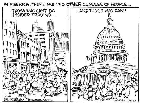 Many in the US Senate and Congress are suspected of insider trading - but enjoy legal immunity  |  Cartoonist Chuck Asay in 2012  |  Click for image.
