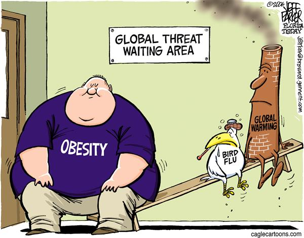 Why is obesity and eating-related disorder rampaging across the world  |  Cartoon titled Big Problem by Jeff Parker  via Cagle Post  |  Click for image.