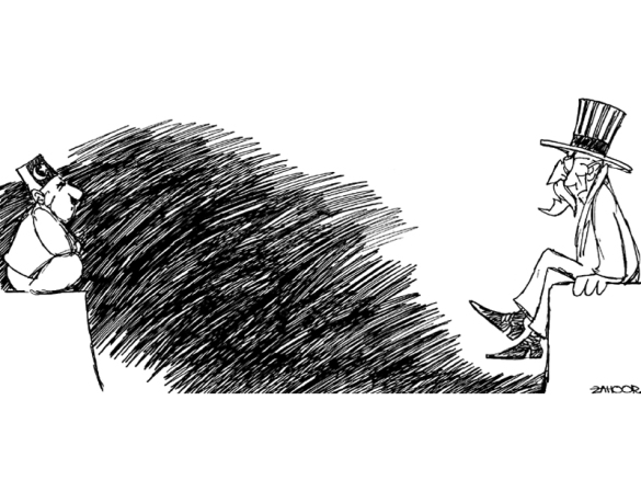 Note the deep longing expresssion in both faces  |  Cartoon by - by Zahoor (May 2012); source & courtesy - tribune.com.pk  |  Click for image.