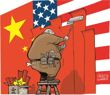 Manipulating media and opinion to create 'frenemies'. - practically at will. Islamic world, China, Russia in that order are bugbears of the West.  But, that can change - and quickly.  |  Cartoon titled Debt To China By Brian Fairrington; Cagle Cartoons - March 26th, 2009; 12:00:00 AM; source & courtesy - politicalcartoons.com  |  Click for image.