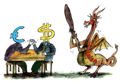 Note how China is portrayed - with a devil's tail. While the US has been blaming China for global imbalances; the Euro-zone is quiet. Euro-zone needs China to sustain and stabilize the Euro.  |  Cartoon titled Currency Battles By Pavel Constantin, Romania - 11/19/2010 12:00:00 AM; source & courtesy - politicalcartoons.com  |  Click for image.