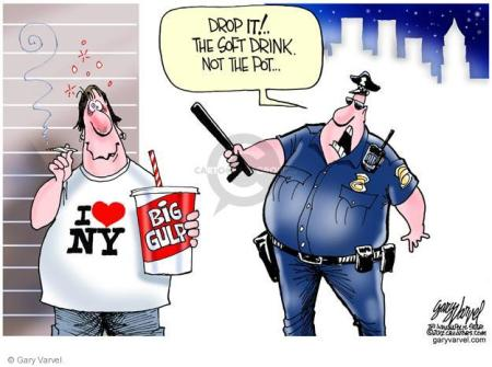 New York has decided that it must legally force food-vendors (like Coke) etc., to reduce the size of each helping.  |  Cartoonist: Gary Varvel; Pub. Date: 2012-06-06; source & courtesy - cartoonistgroup.com  |  Click for image.