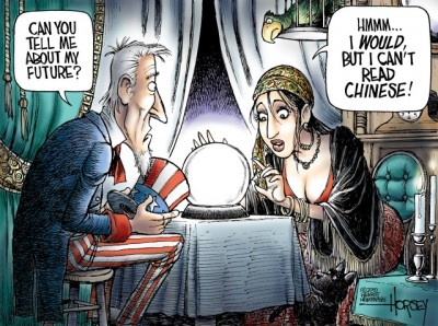 Can China eclipse USA in the short-term - say 25 years?  |  by David Horsey on December 28, 2010 at 6:55 pm; image source & courtesy - http://blog.seattlepi.com/davidhorsey  |  Click for image.