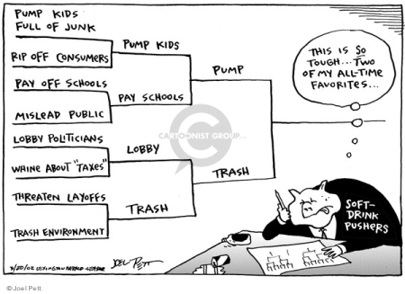 The Powerful Few control our food, medicine, home, work. We can change this  |  Cartoonist: Joel Pett Pub. Date: 2002-03-20; source & courtesy - cartoonistgroup.com |  Click for image.