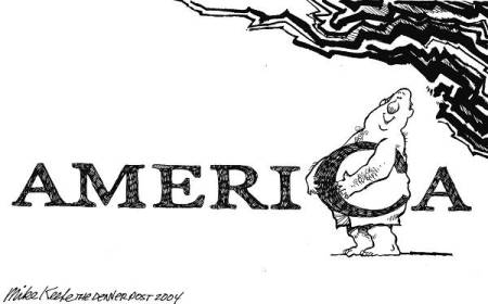 America goes to fat. |  14 Mar 2004 – Obesity in America - Daily Political Cartoons by Mike Keefe, editorial cartoonist for the Denver Post.  |  Click for image.