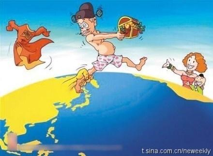 Cartoon depicting the capture of a fleeing naked official  |  Image courtesy & source - chinadigitaltimes.net  |  Click for image.
