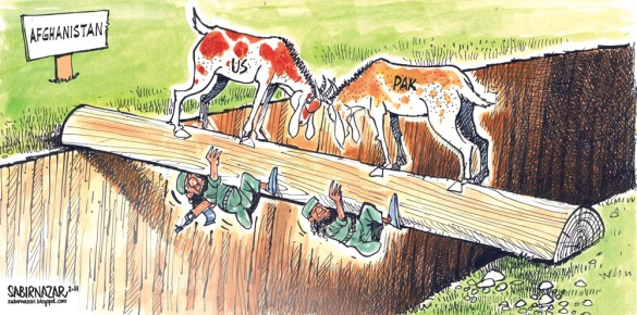 This head-butting may continue till elections in US and Pakistan are over - and the new dispensations are in place to make the necessary decisions  |  Cartoonist Sabir Nazar in November 2011; source & courtesy - sabirnazar.blogspot.com  |  Click for larger image.