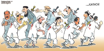 The situation Karachi - and by extension in Pakistan also  |  Cartoonist Sabir Nazar in August 2011; source & courtesy - pakistantoday.com.pk  |  Click for larger image.