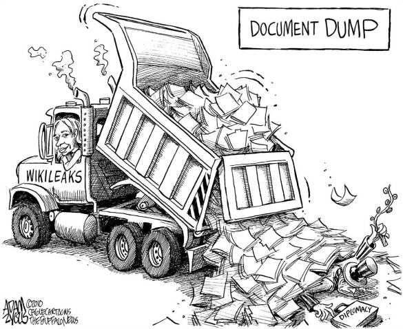 This document dump has made the US react in a manner that makes it look very fragile.  |  Cartoonist Adam Zyglis of Buffalo News, courtesy - Politicalcartoons.com; source:  msn.com  |  Click for image.