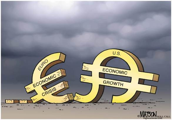 Can the attempted Euro-dollar duopoly work?  |  Cartoonist R.J. Matson of Roll Call; source & courtesy - Politicalcartoons.com / msnbc.msn.com  |  Click for image.