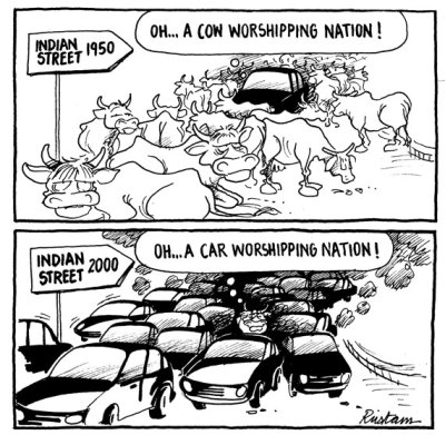 From cow-worshipping to car-worshipping?  |  Cartoonist - Rustam Vania; May 18, 2012; Image source & courtesy - downtoearth.org.in  |  Click for image.