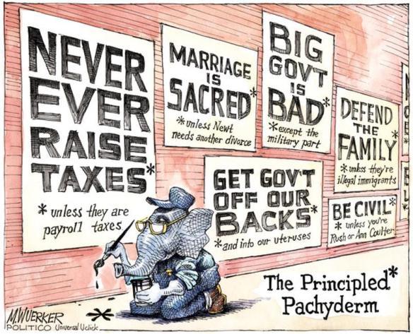 Globally Govt. has become a set of slogans.     Matt Wuerker cartoon in politico.com on December 01, 2011     Click for image.