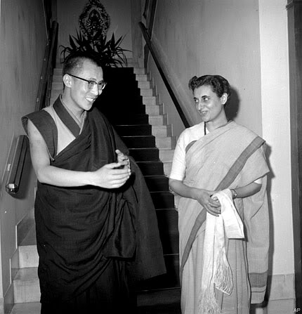 A young Dalai Lama, and Indira Gandhi, during a visit to Nehru in New Delhi, on Sept. 4, 1959. It was the Dalai Lama's first visit to New Delhi since fleeing Tibet in March. - living in exile at Birla House in Mussoorie, India.