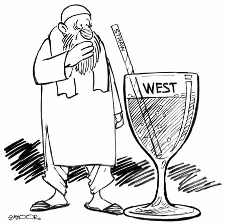 Unable to handle either Islam or Westernization, Pakistan's leadership should think of the people more - and less of the State  |  Cartoon on March 7, 2004 by Zahoor; source & courtesy - paksir.blogspot.in  |  Click for image.