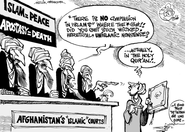 Cartoon by Khalil Bendib; March 2006; source & courtest - http://www.bendib.com/newones/2006/march/large/Apostasy%20in%20Islam.jpg  |  Click for image.