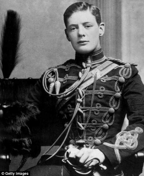 Winston Churchill in the Hussars just before he saw action in North India  |  Image courtesy - dailymail.co.uk  |  Click for image.