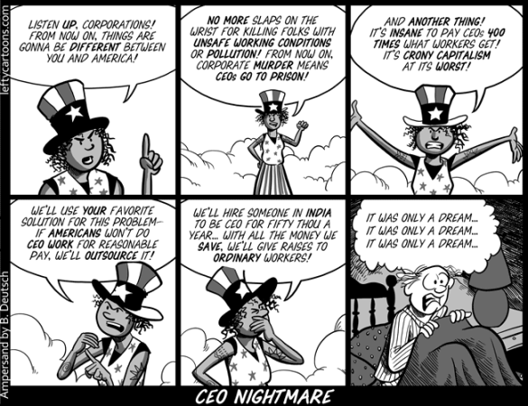 More than outsourcing, it a question of being competitive  |  Cartoon titled CEO Nightmare  on October 9th, 2008 by Barry Deutsch  |  Click for image.