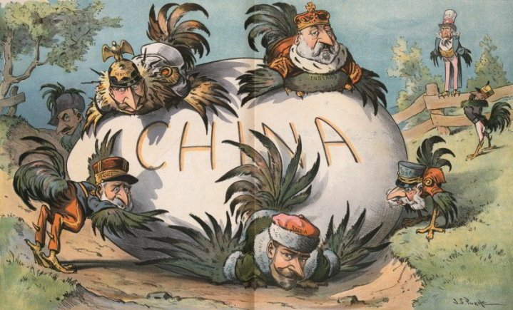A Troublesome Egg to Hatch by J.S. Pughe  |  1901 cartoon as Industrial powers'attempt to exploit China. US & Japan look on.  Image source & courtesy - historytoday.com  |  Click for larger image.