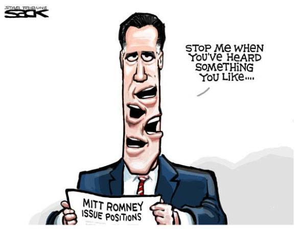 Media and academia make much noise, speaking in contradictions  |  Steve Sack's Cartoon for 2008 election lampooning Mitt Romney on June 25, 2007; image source and courtesy - cagle.com  |  Click for image