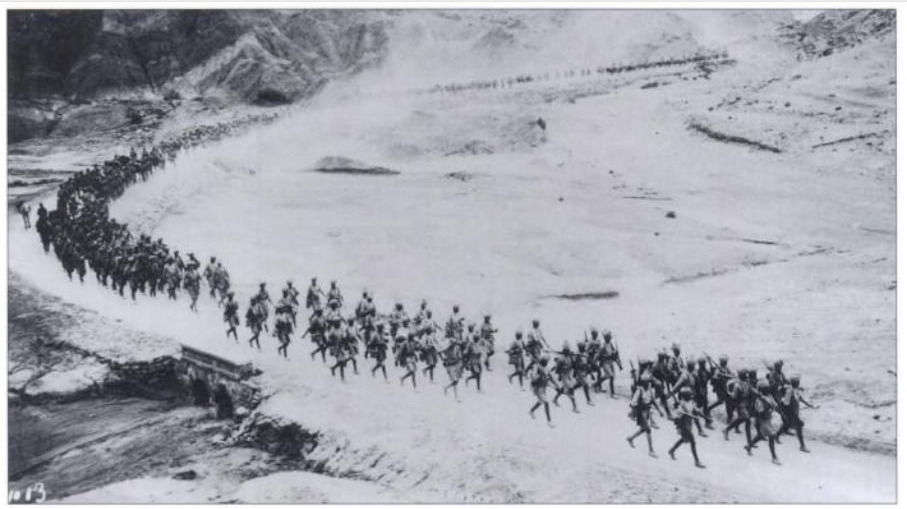Railways were not available for all locations. Regiments had to simply march . Image of 5/13th Frontier Force Rifles, preceded by their band, marching from Kohat to Banu in December 1930 |  Source - Liddle Collection; courtesy - The Indian Army 1914-1947 - Ian Sumner - Google Books |  on 2012-07-31 at 20-33-25  |  Page 20