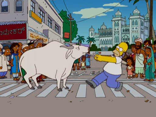 Homer's struggle with Indian cows. Simpsons comes to India - and Homer successfully manages an out-sourced nuclear plant at Bangalore.