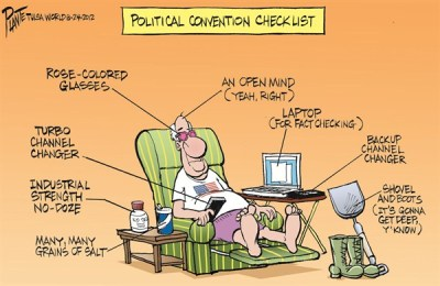 While candidates have been having field day in lowering public debate, one sentence is all it takes to ruin a man's career?  | Cartoon on  Aug  25  2012 titled Political Convention Checklist by Bruce Plante; image source & courtesy - cagle.com