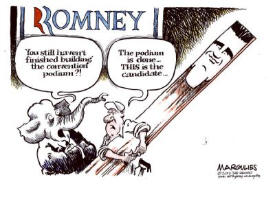Mitt Romney - The Wooden Candidate is the Republican Choice  |  Cartoon on Aug  27  2012  titled Republican Convention by Jimmy Margulies; image source & courtesy - cagle.com